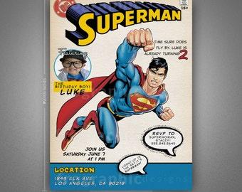 Superman Birthday Invitation - Old Comic Book Cover Inspired