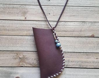 Handmade brown leather pouch recycled leather amulet bag Native American inspired medicine bag leather jewelry