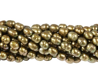 15 1/2 IN Strand 6.5-7 mm Freshwater Pearls Rice Shaped W/Lines Olive Color (FRCXLV6570)
