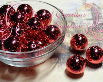 20mm Red Mirror Ball Beads Qty 10
