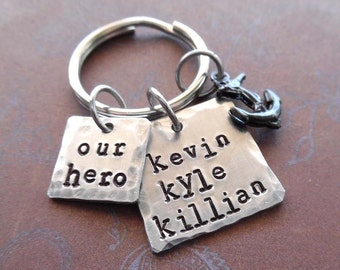 Our Hero Dad Keychain - Personalized Names Anchor- Dad Father Hero Navy Nautical - Man Dad gift - Hero Square Personalized Keychain-  K85