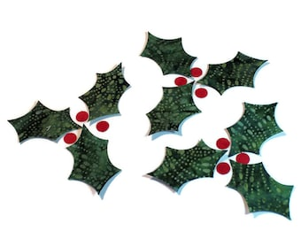 Fabric Applique Iron-Ons - CHOOSE YOUR  Cotton Batik Fabric, Holly Leaves and Red Berries, Set of 9 Leaves and 9 Berries, Mistletoe Leaves
