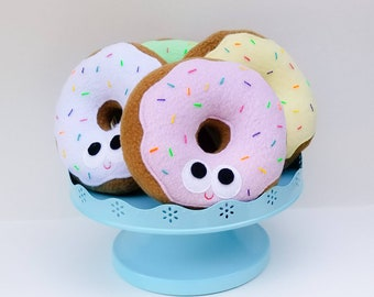 Donut with sprinkles - plush donut - one donut - doughnut - plush food - geek gift - gift for kids - anthropomorphic - stuffed toy