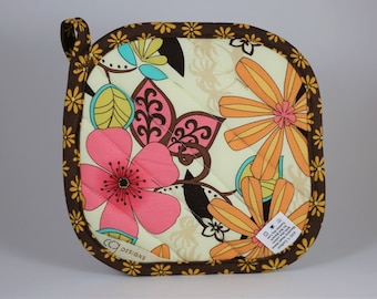 Floral Print Cotton Pot Holder, Brown, Pink, Yellow, Orange