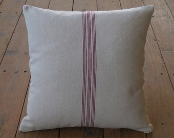 French Grain Sack Pillow, Red Stripe,  Farmhouse pillows, Shabby Chic8,  INSERT INCLUDED