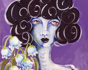 Lowbrow Art Flower Girl - Lily of the Valley ORIGINAL 5x5 Acrylic painting on wood surreal sad girl black blue small flowers purple big hair