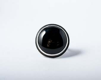Onyx Abyss Sterling Silver Ring