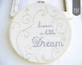 PDF Embroidery Pattern, Dream a Little Dream, Nursery Embroidery, Hand Stitching