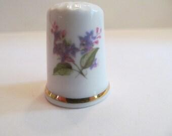 Vintage Thimble // fine bone china// England // Flowers - Ceramic