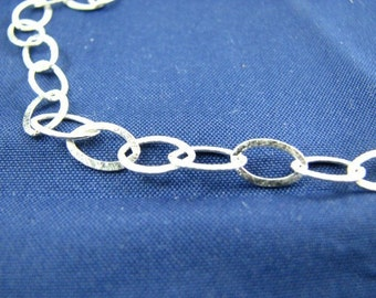 Bulk 5 Feet Sterling Silver Oval Flat Cable Chain 6 X 9 mm