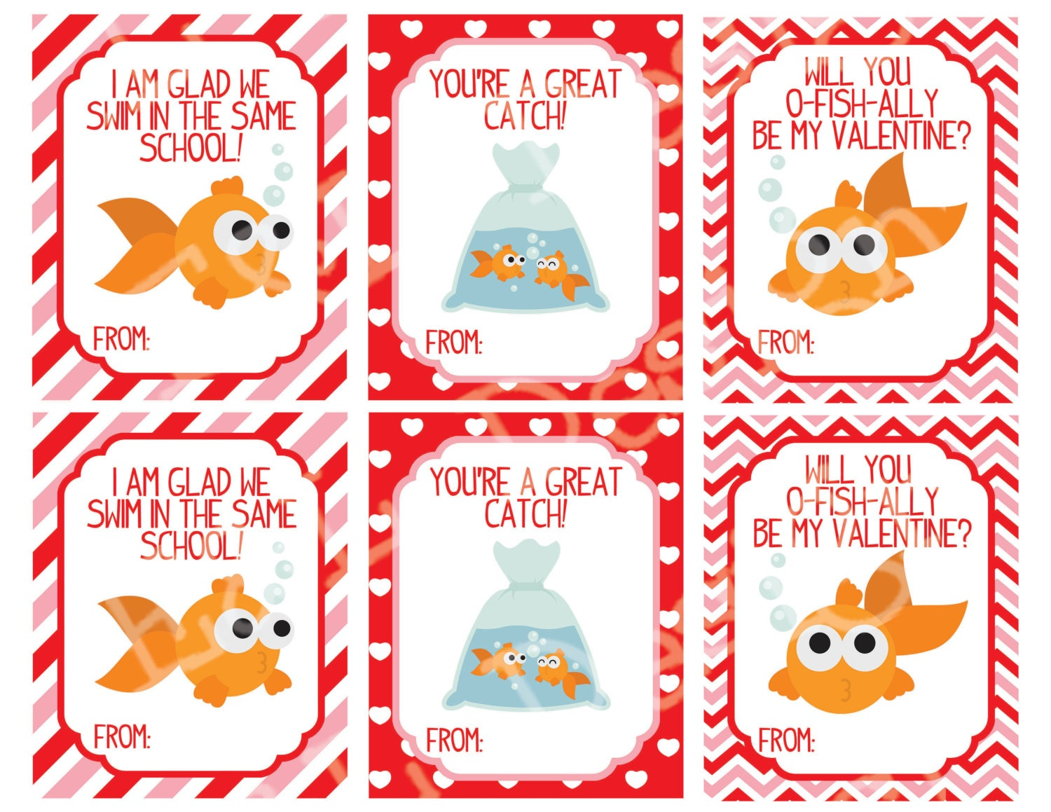 It's just a graphic of Bewitching Goldfish Valentine Printable
