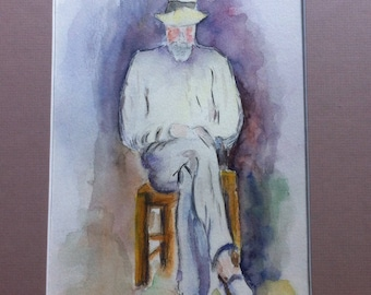 Man sitting after Paul Cezanne - abstract watercolor - in shades of purple
