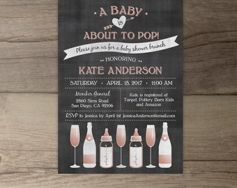 A Baby is About to Pop Champagne Brunch Baby Shower Invitations • Rose Gold • chalkboard bottles glasses •  • printable