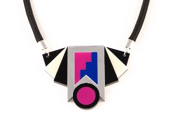 Perspex Statement Necklace - Silver, Blue, Pink FORM_019
