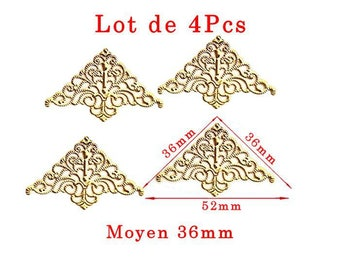 Modern design medium G model gilded corners. Size approximately 36x36mm and 52mm long set of 4Pcs