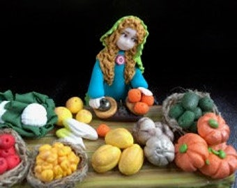 RESERVED market fruits and vegetables Nativity with polymer clay