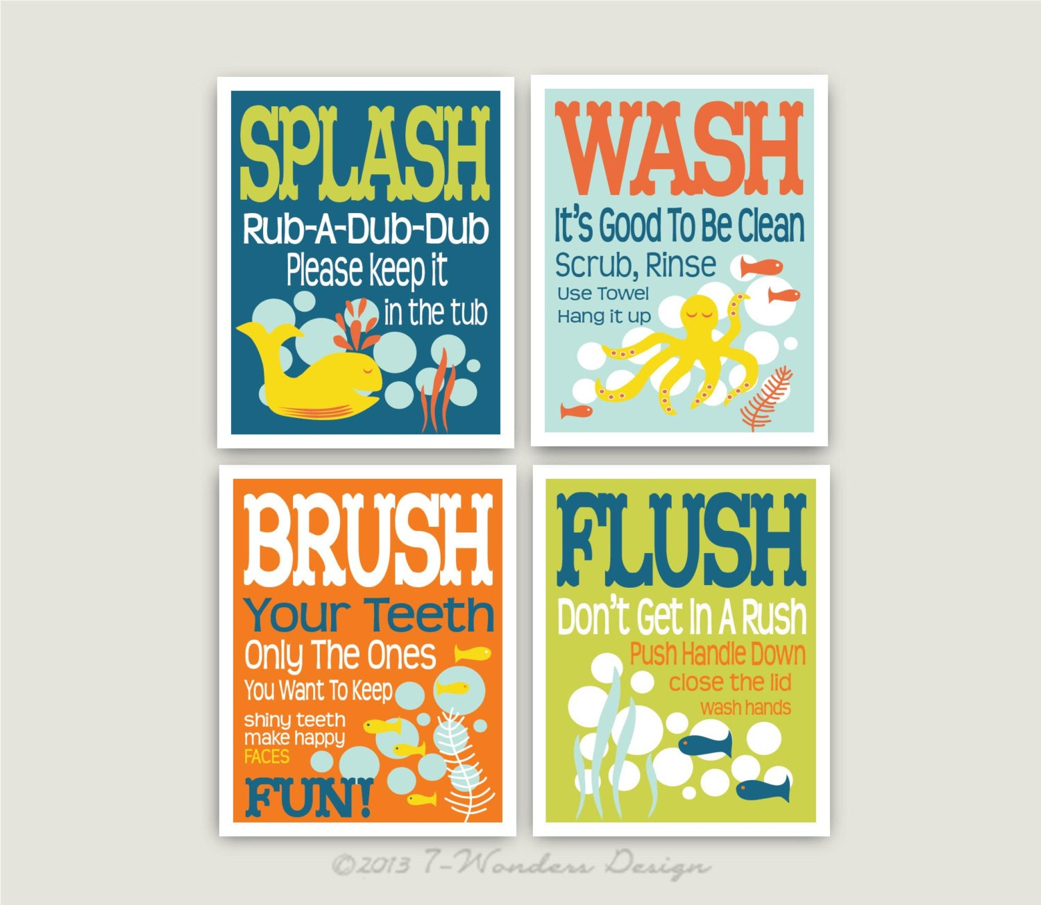 Childrens Kids Bathroom Art Prints Set of 4 8 x