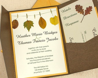 Autumn Wedding Invitation, Autumn Leaf Wedding Invitation