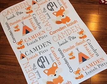 Personalized Baby Blanket ~ Woodland~ Fox ~ Teepee ~ Name Blanket ~ Monogram Blanket