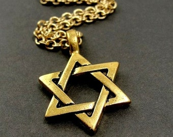 Star of David Necklace, Gold Star of David Charm on a Gold Cable Chain