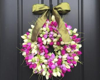 Spring Tulip Wreaths, Tulip Wreaths, Spring Wreaths, Spring Front Door Wreath, Door Wreaths, Mother's Day Wreath,  Easter Wreaths