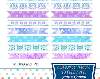 Snowflake Printable Straw Flags, DIY Frozen Snow Toothpick Flags- Commercial Use OK