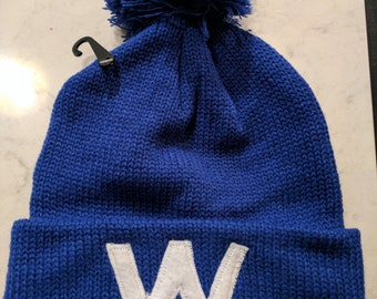"""Cubs """"W"""" Blue Hat with Pom"""