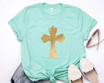Womens Easter shirt, Easter Cross Shirt, Christian Shirt, Spring Shirt, Easter Shirt, Inspirational Shirt, Church Shirt