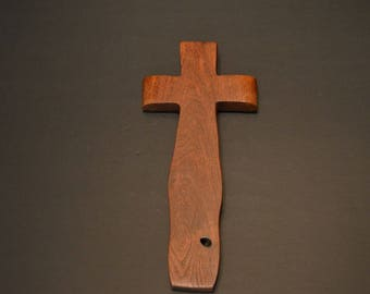"""Unique Wooden Wall Cross; Christian Gift; Crooked Cross; Rustic Cross; Cross Wall; Mesquite;4""""x9""""x.5"""";Free Ground Shipping USA; cc20-6061517"""