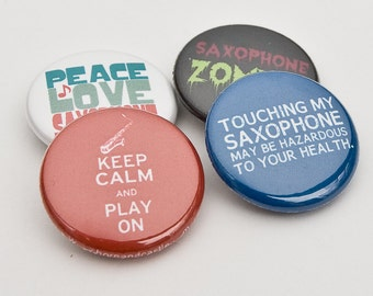 Saxophone Zombie plus three Marching Band and Music Buttons or Magnets - SAX 3