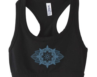 Sacred Geometry MEHNDI CUBE Mandala Athletic Halter Sports BRA Geometric Yoga Dance Wear Spandex Top Festival Shirt Crop Top Belly Shirt