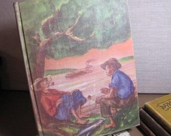 Vintage Book - Illustrated Junior Library - The Adventures of Huckleberry Finn - Mark Twain - 1948 Edition