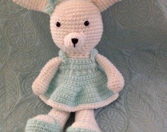 Crochet Easter Bunny, crochet toy, crochet bunny, stuffed bunny, Easter gift, stuffed girl bunny, girl bunny with bows, amigurumi bunny