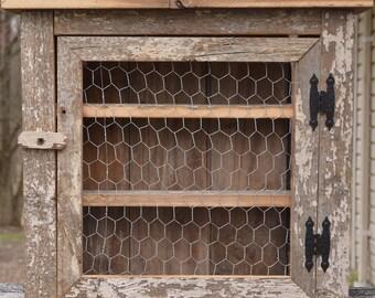 Barn Wood Spice / Bathroom Cabinet With Chicken Wire Door