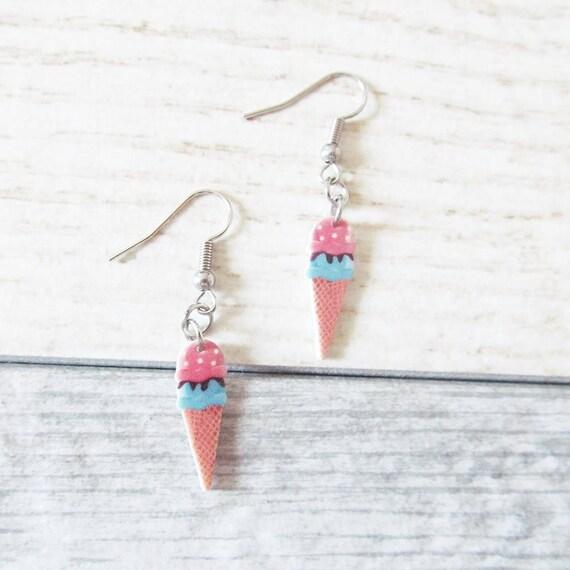 Small, earrings, shrink plastic, icecream, blue, pink, stainless hook, handmade, les perles rares