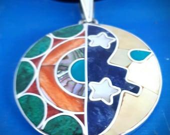 sun moon necklace sun moon jewelry sun moon star necklace sun moon stars peruvian jewelry spiritual pendant necklace peru silver inca symbol