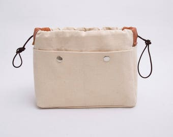 Purse organizer HERMES BAGS in textured ivory with only inside pockets ,bag insert organizer,make up bag , EXPRESS shipping