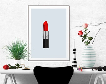 Scarlett Lipstick Fashion Illustration Art Poster