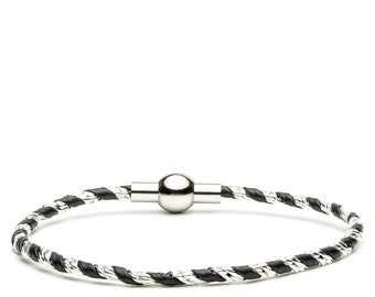 Thin leather bracelet with silver chain twisted and stainless steel magnetic clasp