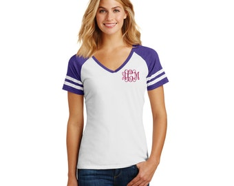 Monogrammed Ladies Game V-Neck Tee. V Neck Shirt. Monogram Varsity Shirt. Personalized Gift. Embroidered Monogram. V-Neck Shirt. DM476