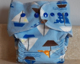 Fitted Small Cloth Diaper- 6 to 12 pounds- Sailboats- 17006