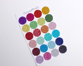Glitter Scalloped Circle Stickers | 24 Planner Stickers