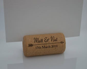 Personalized Cork Place Card Holders Model 21 Dark