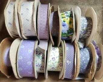Vintage Ribbon Lot - Purple Mix