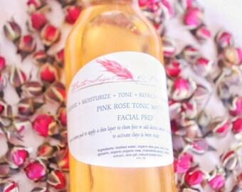 Pink Rose Tonic Water- Facial toner - skin care - facial mask booster - rose water - facial cleaner -astringent