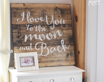 Moon and Back Wood Sign