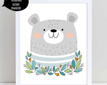 bear, bear poster, bear art print, bear illustration, bear wall art, printable bear art,nursery wall art, wall decor, printable wall art,