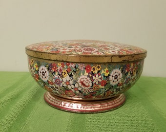 Vintage Daher Footed Biscuit Tin - England