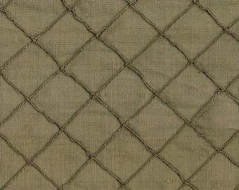Mushroom Brown Silk - Dupione Silk - Designer Silk -  Stitched Dupione Silk in Mushroom Color - Stitched Dupione