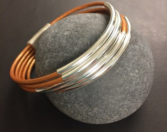 Leather Wrap Bracelet - Metallic Copper Leather Wrap Bracelet